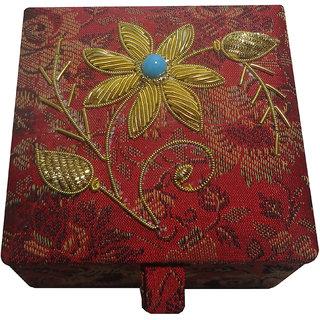 Avinash Handicrafts Jewellery Box (Square Shape) 7.5x7.5 cm Red