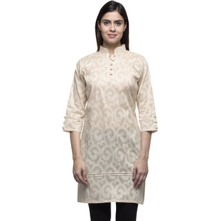 Fawn Cotton Jaquard Mandarin Collar Pintucked Buttoned  Kurti