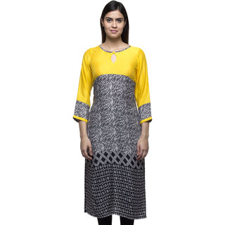 Buttoned Keyhole Yellow Yoke Black Zigzag Long Kurti