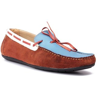 FLOURISH Brown  Sky Blue Color Genuine Leather Driving Shoes