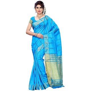 Women Tussar Silk Saree With Plain Blouse Blue