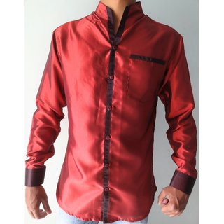 WINGS Mens Party Wear Shirts Satin Red