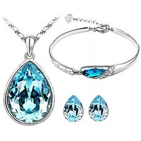 CYAN teardrop style crystal jewelry set Combo  with charming bracelet