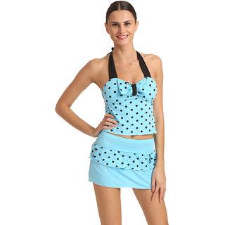 Swim Sexy Polka Dot Tie Front Halter Sky Blue Tankini