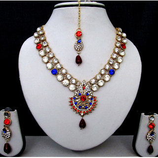 Wow Nice Blue and Red Stone Necklace Set