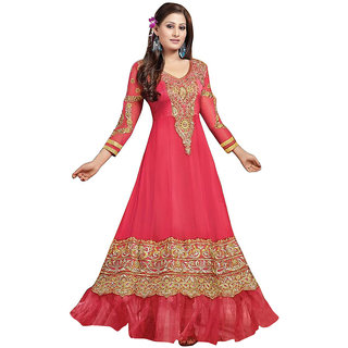 The BrandStand Red Georgette Zari Embroidery Party Salwar Suit For Women (VSKrishma36000)