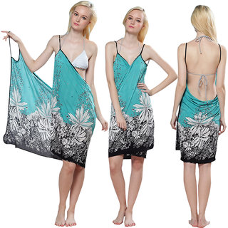 Sexy Backless Style Glorious Multi Floral Print Summer Wrap Skirt Beach Dress