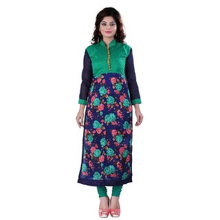 Clickedia Womens Cotton A line long Flower Printed Blue Green Kurti