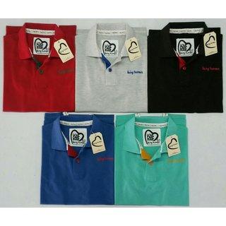 Men Multicolor Polo Collar T-Shirt