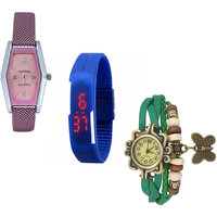Jack Klein Combo Of Synthetic Leather Multicolor Analog-Digital Round Wrist Watch - 90287108
