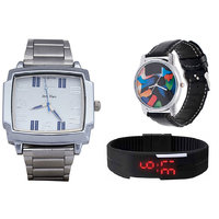 Jack Klein Combo Of Synthetic Leather Multicolor Analog-Digital Round Wrist Watch - 90286790
