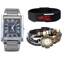 Jack Klein Combo Of Synthetic Leather Multicolor Analog-Digital Round Wrist Watch - 90286888