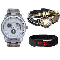 Jack Klein Combo Of Synthetic Leather Multicolor Analog-Digital Round Wrist Watch - 90286953