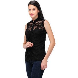 The BrandStand Black Net Embroidered Top For Women (VSTOP2021Blk)