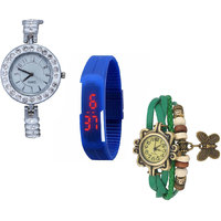 Jack Klein Combo Of Synthetic Leather Multicolor Analog-Digital Round Wrist Watch - 90287114