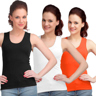 Sona WomenS Black/White/Orange Sando Camisole