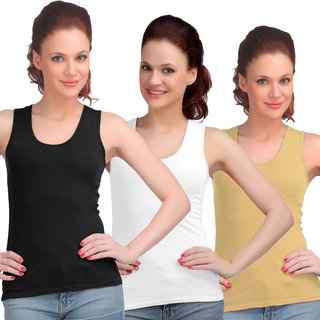 Sona WomenS Black/White/Skin Sando Camisole