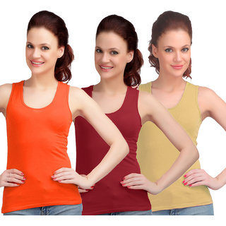 Sona WomenS Maroon/Skin Sando Camisole