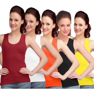 Sona WomenS Maroon/White/Orange/Black/Yellow Sando Camisole