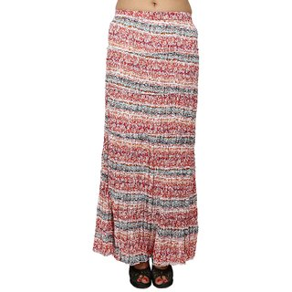 SML Originals Pink Colour Printed Cotton Crepe Long Tier Skirt (SML565Pink)