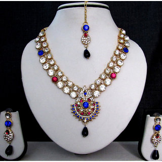 Wow Nice Pink and Blue Stone Necklace Set