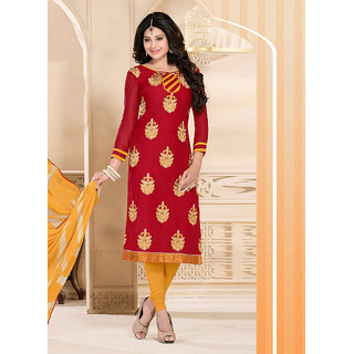 Vastrani Red and Dark Yellow Bhagalpuri Silk  and Cotton Embroidered Party Wear Dress Material 367D5002