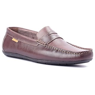FLOURISH Brown Color Genuine Leather Driving Shoes