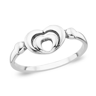 Taraash Double Heart Sterling Silver Ring