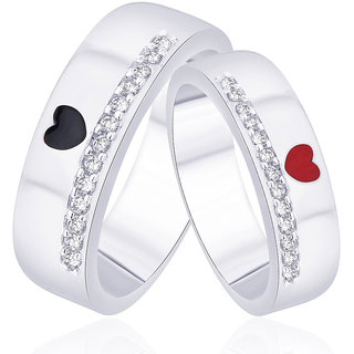 Taraash 925 Sterling Silver Cz Heart Shape Enamel Couple Ring For Couples