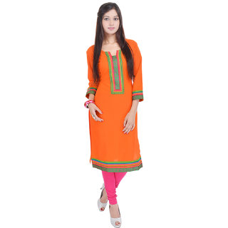 Beautiful Cotton Printed Orange Color Kurti