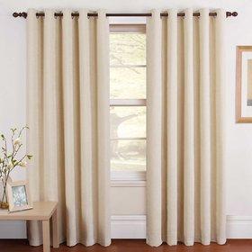 iLiv Cream Plain Solid Window Curtains Set Of 2 -5ft