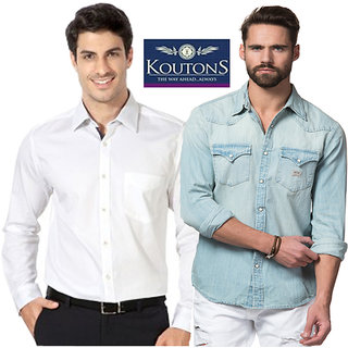 0f730f1b8 Buy Koutons Blue and white Full sleeves Mens Shirt Online   ₹3599 from  ShopClues