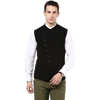 Hypernation Solid Mens Black Waistcoat