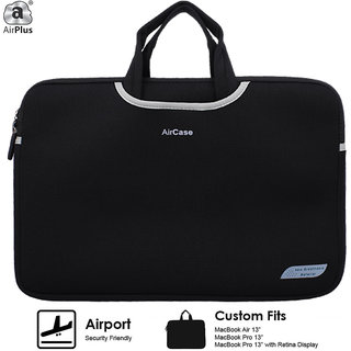 AirPlus Designer Neoprene Protective Handle Sleeve for 13 inch Laptop-Black
