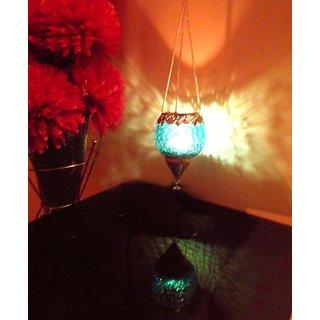 Skyblue Glass and Metal Tea Light Holder