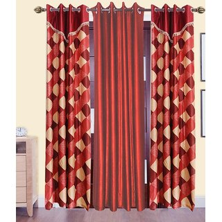 Shiv Shankar Handloom Window curtains Set of 3 (5x4 Feet)