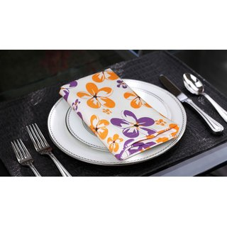 Lushomes Shadow Printed Cotton 6 Table Napkins Set (Dinner Napkins)