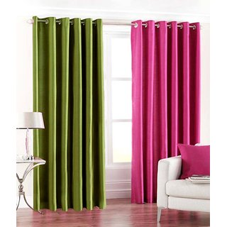 Iliv Plain Eyelet window Curtain 5 feet  Set Of 2  1green1pink