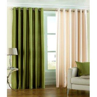 Iliv Plain Eyelet Window Curtain 5 Feet Set Of 2 1green1cream