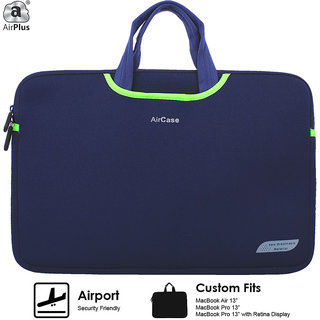 AirPlus Designer Neoprene Protective Handle Sleeve for 13 inch Laptop- Navy Blue