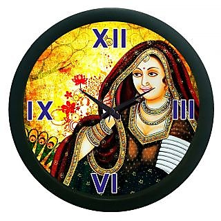 Ae World Rajasthani Girl Wall Clock (With Glass) 12X12 Inches