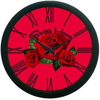 Ae World Flower Wall Clock (With Glass) 12X12 Inches