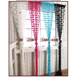 Iliv Stylish Polyster Heart Curtain 7 Feet Set  Of 2 Multicolor