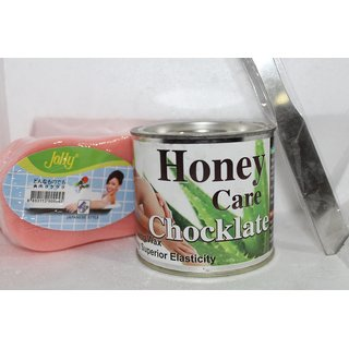 HONEY CARE CHOCLATE WAX BODY WAX FOR HAIR REMOVAL +WAX KNIFE FREE +SPONGE