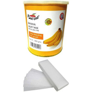 Beeone Banana Milky Wax 800 Grams With 100 Strips and wax knife