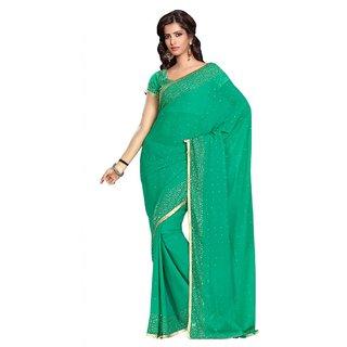 Triveni Green Faux Georgette Lace Saree With Blouse
