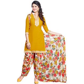 Drapes Orange Cotton Printed Salwar Suit Dress Material (Unstitched)