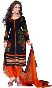 :Drapes Black Crepe Printed Salwar Suit Dress Material Unstitched