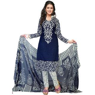 Drapes Black Crepe Printed Salwar Suit Dress Material Unstitched