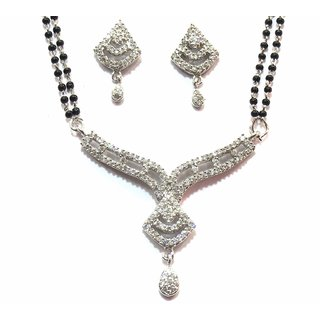 shingar Ksvk Jewels Cubic Zirconia Mangalsutra set For women (9897-p2-rhodium)